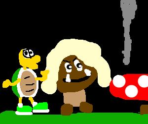 A koopa and a goomba visiting mario's house.