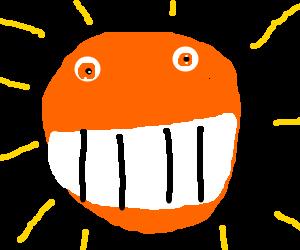a very happy orange