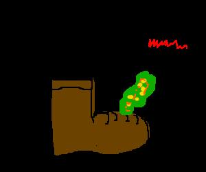 puke on a boot