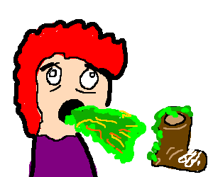 red hair man vomiting on giant brown shoe