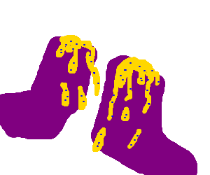 purple socks with blue and yellow stuffing