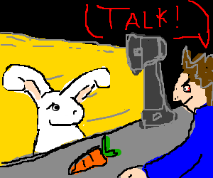 Man bribes red bunny to talk with carrot bait.