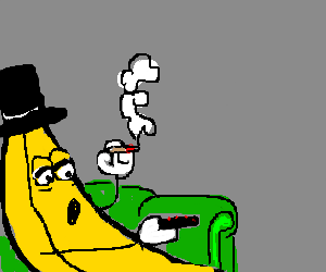 banana with a top hat smoking a blunt
