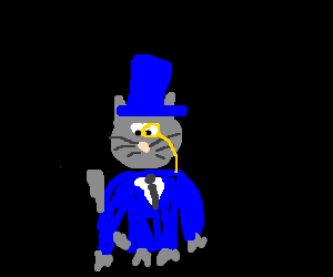 Elegant cat lord wear a suit,in black background