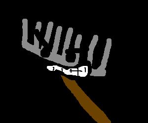 Angry gray rake head
