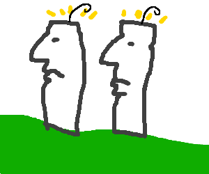 Easter Island heads spilled rogaine and are bald