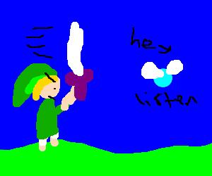 Link preps a Skyward Strike to end Navi.