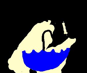black man jumping over blue upside down umbrella