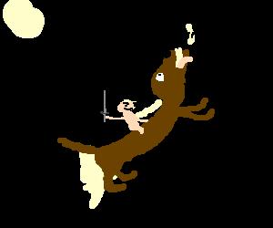 naked rat rides weasel-dog