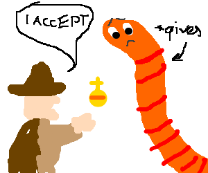 """Man accepts """"Holy"""" gift from sad worm"""