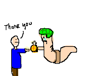 A worm sadly giving someone a holy hand grenade