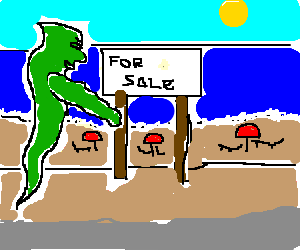 Green ghost attempts to sell a beach