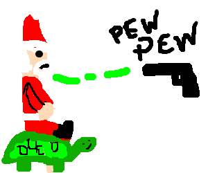 Santa gets shot with a laser while on a turtle.