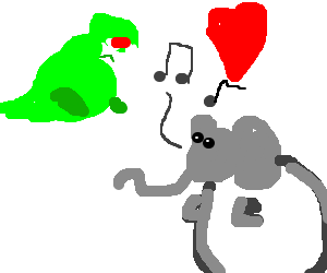 Musical Elephant serenades overweight T-Rex lady
