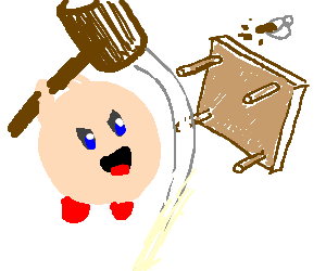 Kirby flipping a table
