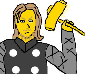 Yellow man with big yellow hammer