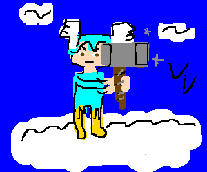 Thor wields Mjolnir with an air of seriousness!