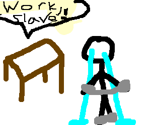 Man enslaved by table