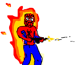 Burning spiderman excitedly shoots machine gun