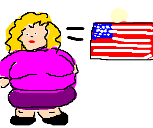 Fat blond girl equals america