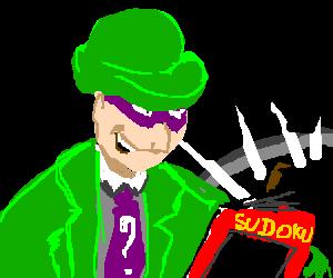 The riddler playing sudoku.