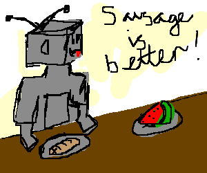 Robot prepares to eat sausage-ignores fruit