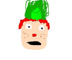 Red nosed ginger has green fire in hair