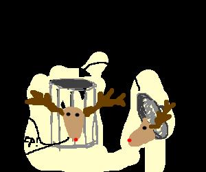 reindeer trashcan meeps at reindeer lid