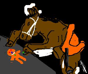 A horse making a gingerbread man.