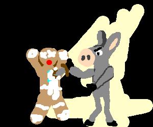 rabid confederate donkey murders gingerbread man