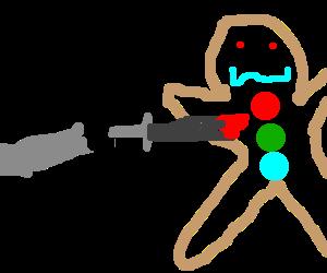 Donkey stabbing gingerbread man