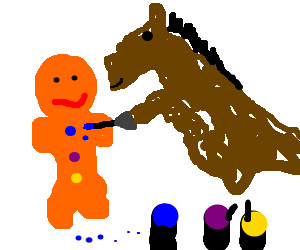 Horse paints the top button on a gingerbread man