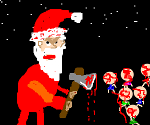 Santa Claus murdered the kids using an axe