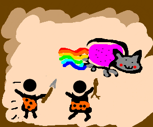 Ancient cave drawing of people hunting Nyan cat