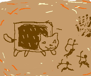 Nyan Cat is hunted in a cave drawing