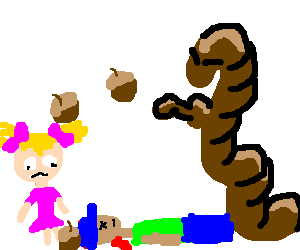 Angreh worm throwing acorns at children
