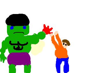 Hulk get's help putting on cleaning gloves