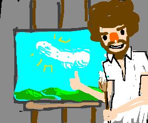 Bob Ross painting penis art
