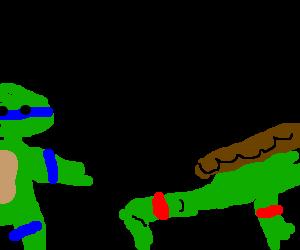 Leonardo pranks Raphael with a tripwire