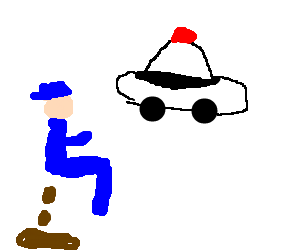 Policeman Defecating