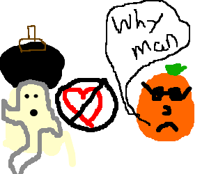 ghost with afro doesn't love an orange with face