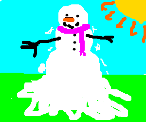 a lovely snowman is melting