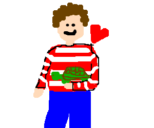 red striped man loves his turtle