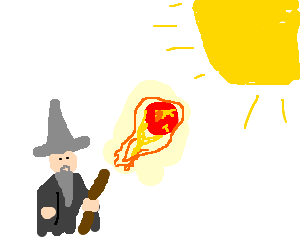 Gandalf the Grey throws FIRE at the SUN!