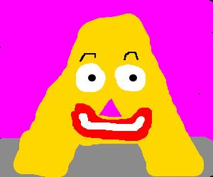disturbingly happy Capital A yellow letter