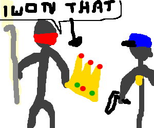 Guy steals a crown, but claims to have won it
