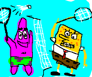 SpongeBog and Patrick playing badminton