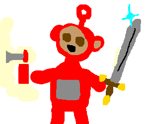 Teletubby is ecstatic with red airhorn and sword