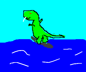 Dinosaur with a tapeworm goes surfing
