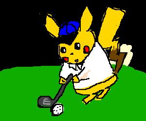 pikachu playing golf